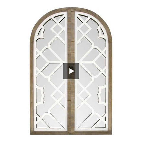 White Rustic Lattice Gate Farmhouse Mirror - Hen & Tilly Farmhouse Sinks