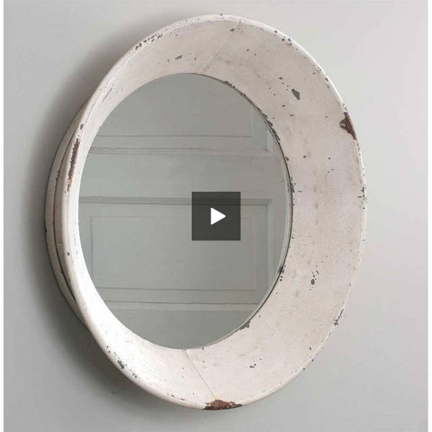 Antique White Distressed Round Farmhouse Mirror - Hen & Tilly Farmhouse Sinks