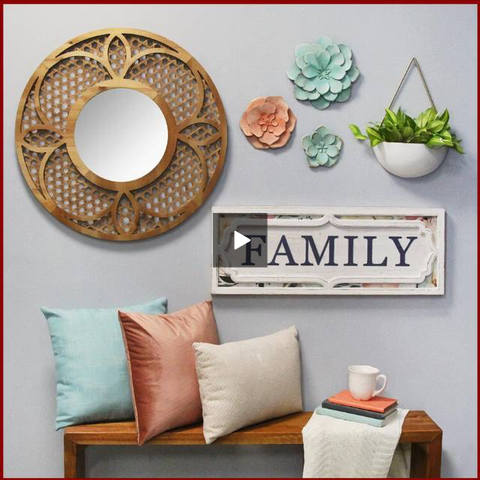 "Rustic Floral ""Family"" Wall Decor - Hen & Tilly"