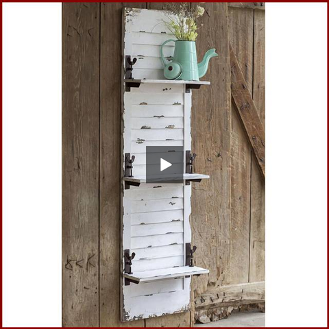 Distressed White Window Shutter Hanging Shelf - Hen & Tilly Farmhouse Sinks