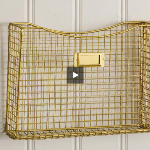 Gold Three Pocket Wall Organizer - Hen & Tilly