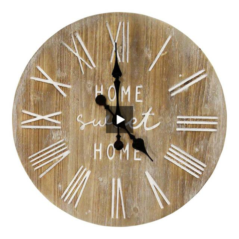 "Image of Rustic ""Home Sweet Home"" Wood Clock - Hen & Tilly"