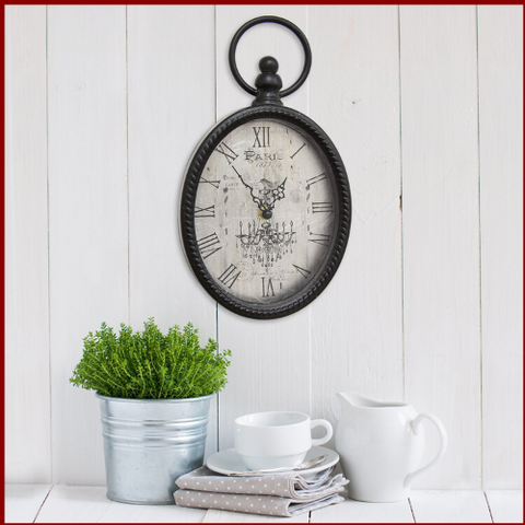 Image of Antique Oval Roman Numeral Wall Clock - Hen & Tilly Farmhouse Sinks