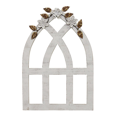 White Window Arch with Gold Flowers - Hen & Tilly