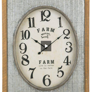 """Farm Sweet Farm"" Galvanized Shell Clock - Hen & Tilly"