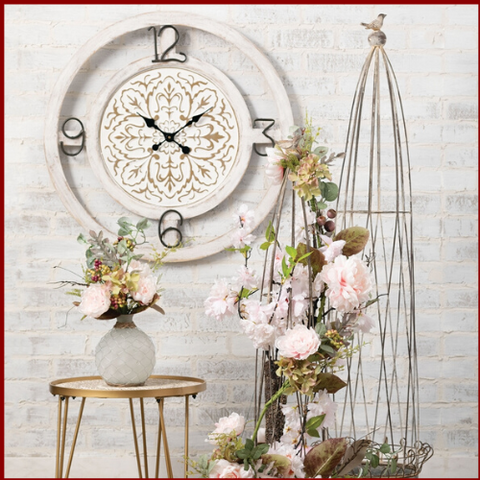 Decorative White Floral Wall Clock - Hen & Tilly Farmhouse Sinks
