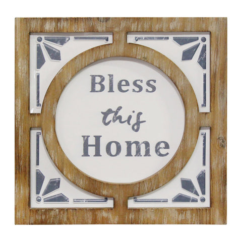 """Bless this Home"" Rustic Wall Art - Hen & Tilly"