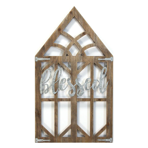 """Blessed"" Farmhouse Wooden Window Frame - Hen & Tilly Farmhouse Sinks"