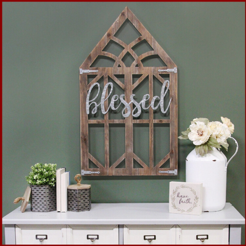 """Blessed"" Farmhouse Wooden Window Frame - Hen & Tilly"