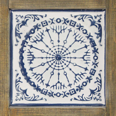 Image of Distressed Blue and White Medallion Wall Decor - Hen & Tilly Farmhouse Sinks