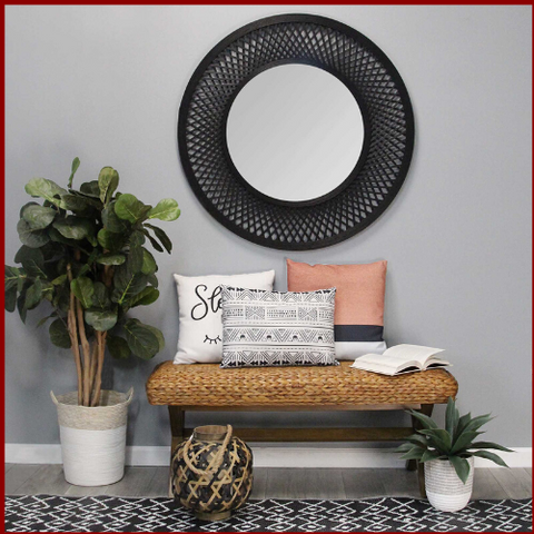 Black Woven Bamboo Rattan Mirror - Hen & Tilly Farmhouse Sinks
