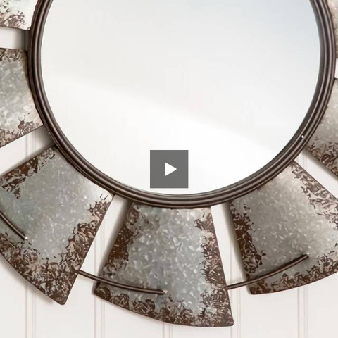 Image of Large Distressed Galvanized Windmill Mirror - Hen & Tilly