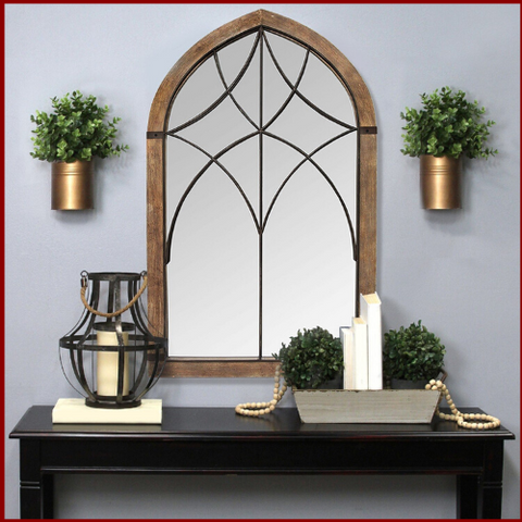 Image of Augusta Cathedral Bronze Metal Mirror - Hen & Tilly Farmhouse Sinks