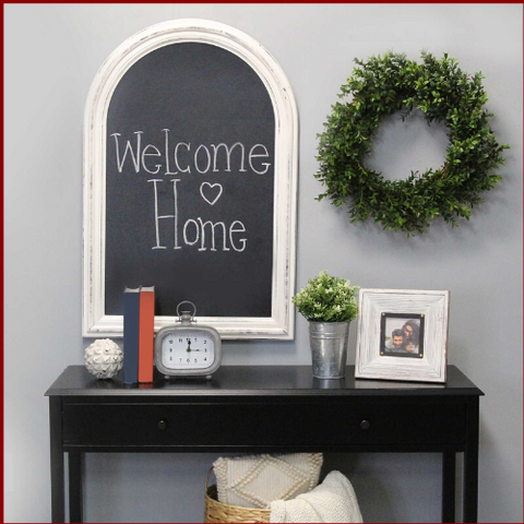 Image of Distressed White Arched Farmhouse Chalkboard - Hen & Tilly Farmhouse Sinks