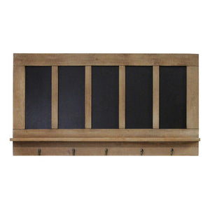 Five Chalkboard Organizer with Metal Hooks - Hen & Tilly