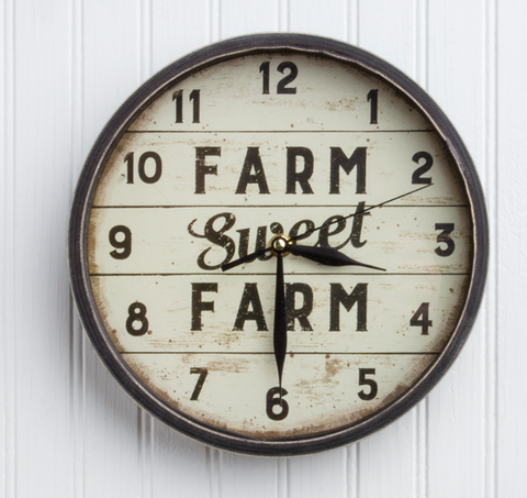 """Farm Sweet Farm"" Rustic Farmhouse Clock - Hen & Tilly Farmhouse Sinks"