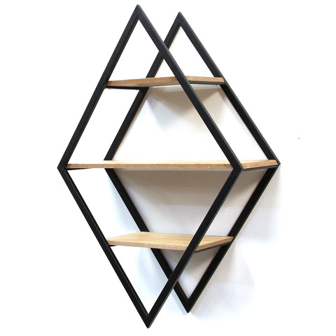 Image of Black Diamond Shaped Wall Shelves - Hen & Tilly Farmhouse Sinks