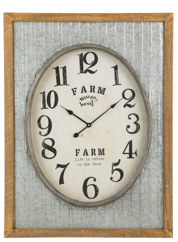 "Image of ""Farm Sweet Farm"" Galvanized Shell Clock - Hen & Tilly Farmhouse Sinks"