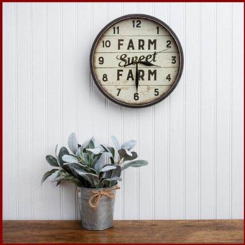 "Image of ""Farm Sweet Farm"" Rustic Farmhouse Clock - Hen & Tilly Farmhouse Sinks"