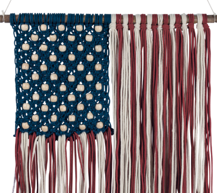 Image of Woven Macrame American Flag Wall Hanging - Hen & Tilly Farmhouse Sinks