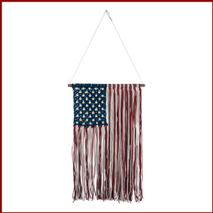 Woven Macrame American Flag Wall Hanging - Hen & Tilly Farmhouse Sinks