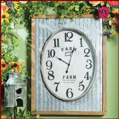 """Farm Sweet Farm"" Galvanized Shell Clock - Hen & Tilly Farmhouse Sinks"