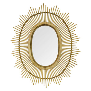 Kelly Bamboo Oval Wall Mirror - Hen & Tilly Farmhouse Sinks