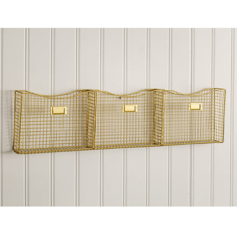 Image of Gold Three Pocket Wall Organizer - Hen & Tilly