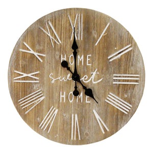 "Rustic ""Home Sweet Home"" Wood Clock - Hen & Tilly Farmhouse Sinks"