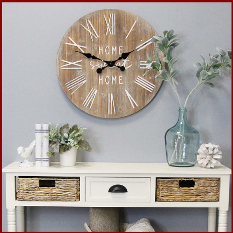 "Image of Rustic ""Home Sweet Home"" Wood Clock - Hen & Tilly Farmhouse Sinks"