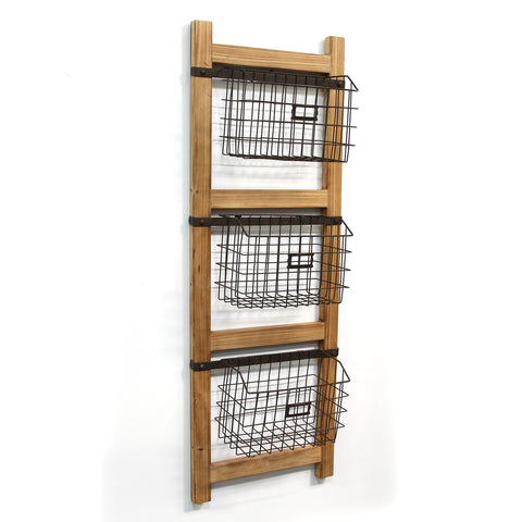 Image of Decorative Ladder Organizer with Wire Baskets - Hen & Tilly Farmhouse Sinks