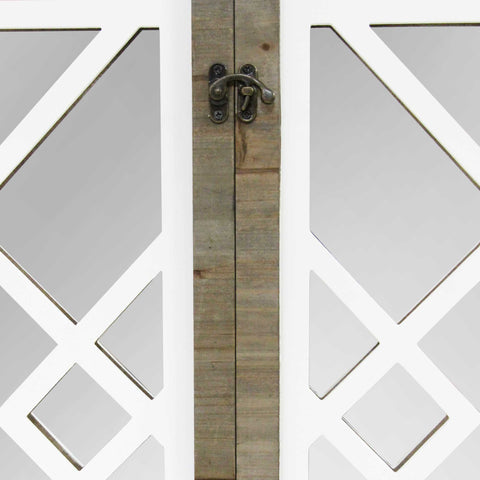 Image of White Rustic Lattice Gate Farmhouse Mirror - Hen & Tilly