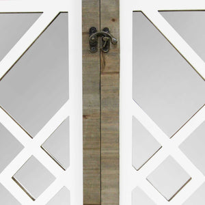 White Rustic Lattice Gate Farmhouse Mirror - Hen & Tilly