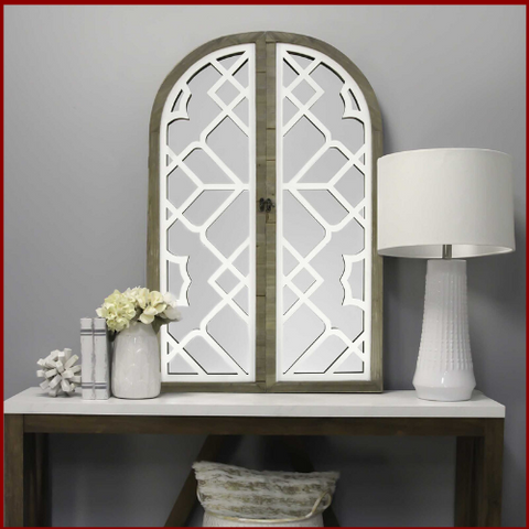 Image of White Rustic Lattice Gate Farmhouse Mirror - Hen & Tilly Farmhouse Sinks