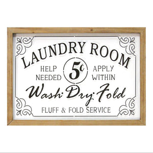 "Glass Vintage ""Laundry Room"" Sign - Hen & Tilly"