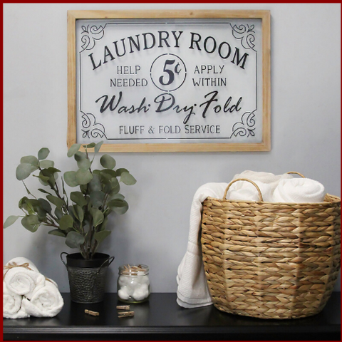"Image of Glass Vintage ""Laundry Room"" Sign - Hen & Tilly"