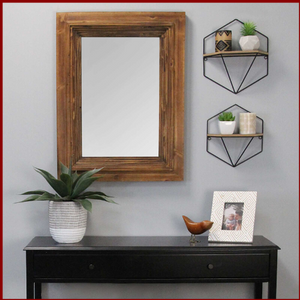 Cherry Wood Layered Wall Mirror - Hen & Tilly