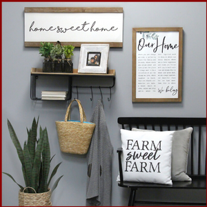 """Our Home"" Metal and Wood Wall Art - Hen & Tilly Farmhouse Sinks"