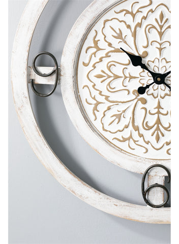Image of Decorative White Floral Wall Clock - Hen & Tilly Farmhouse Sinks