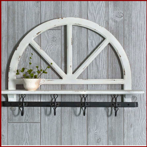 Image of White Distressed Prairie Wall Shelf - Hen & Tilly Farmhouse Sinks