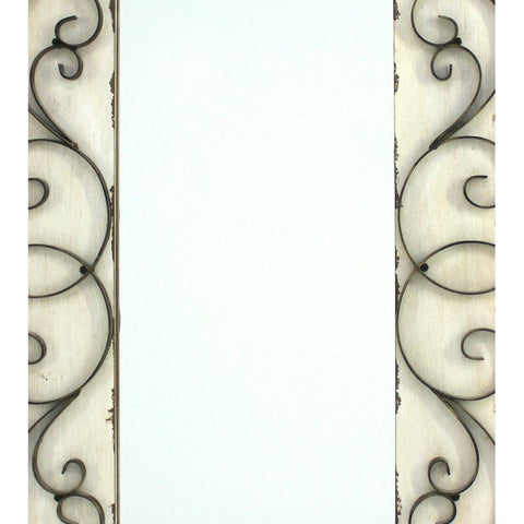 Antiqued Vintage White Scroll Wall Mirror - Hen & Tilly Farmhouse Sinks