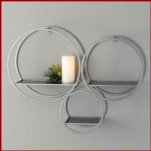 Image of Silver and Iron Circle Shelves - Hen & Tilly Farmhouse Sinks