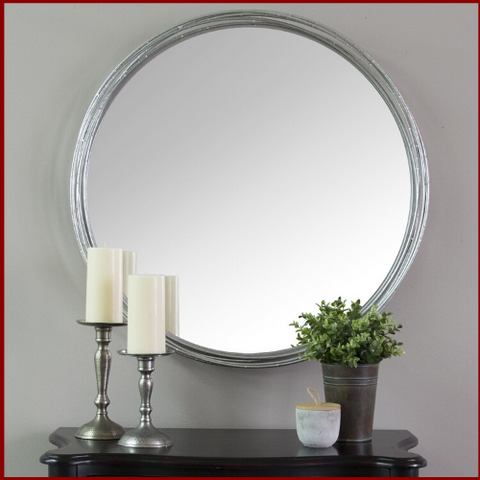 Silver Jocelyn Statement Wall Mirror - Hen & Tilly Farmhouse Sinks