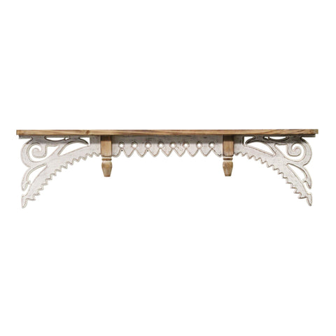Image of White Antique Decorative Patterned Shelf - Hen & Tilly Farmhouse Sinks