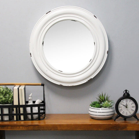 Image of White Priscilla Distressed Wall Mirror - Hen & Tilly Farmhouse Sinks