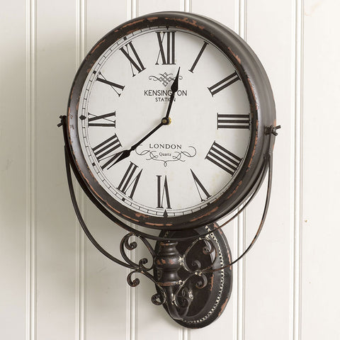 Image of Rustic Kensington Station Wall Clock - Hen & Tilly Farmhouse Sinks