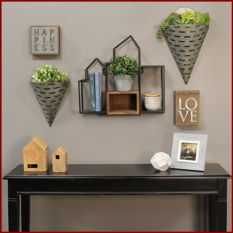 Image of Decorative Wallscape Shelf and Storage Box - Hen & Tilly Farmhouse Sinks