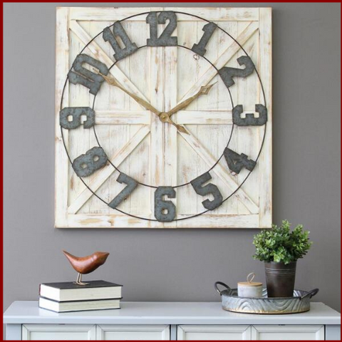 Image of Barn Wood Farmhouse Wall Clock - Hen & Tilly Farmhouse Sinks
