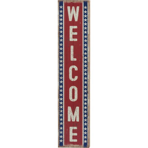 "Image of ""Welcome"" Rustic Vertical Porch Leaner Sign - Hen & Tilly Farmhouse Sinks"