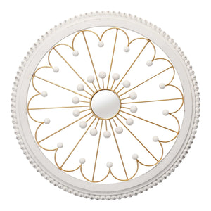 White and Gold Medallion Farmhouse Mirror - Hen & Tilly